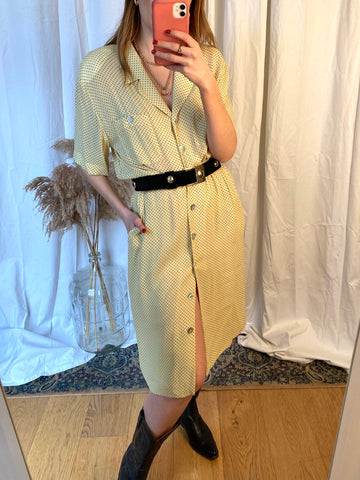 80s Yellow Silk Shirt Dress - M