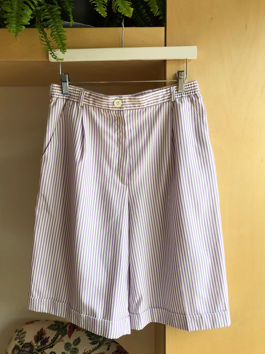 Vintage Lilac Striped High Waisted Shorts - S
