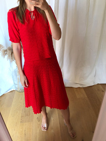 Vintage 70s Red Knit Co-Ord