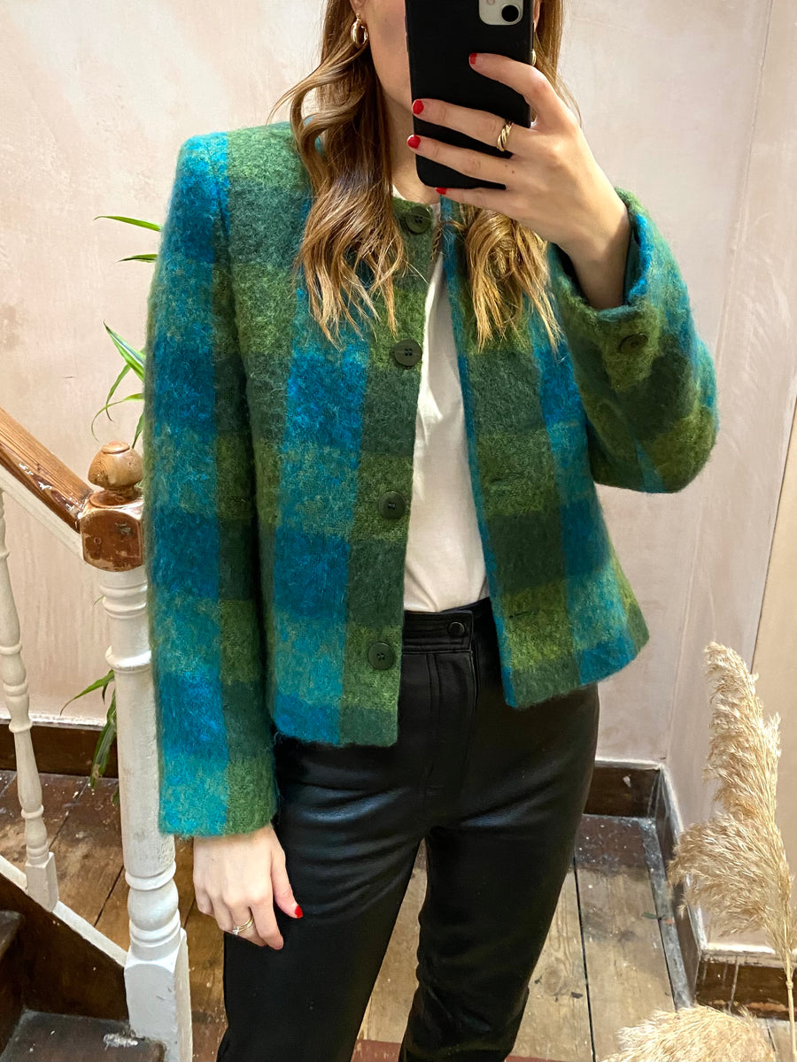 Vintage Green Check Mohair Boxy Jacket - S