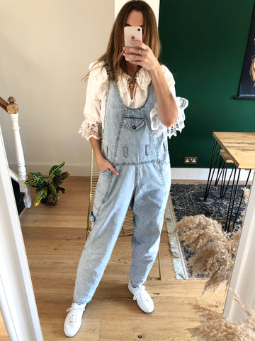 Vintage 80s Light Blue Denim Dungarees