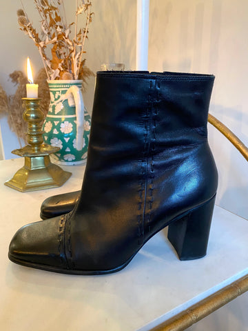 Vintage Black Leather Square Toe Ankle Boots