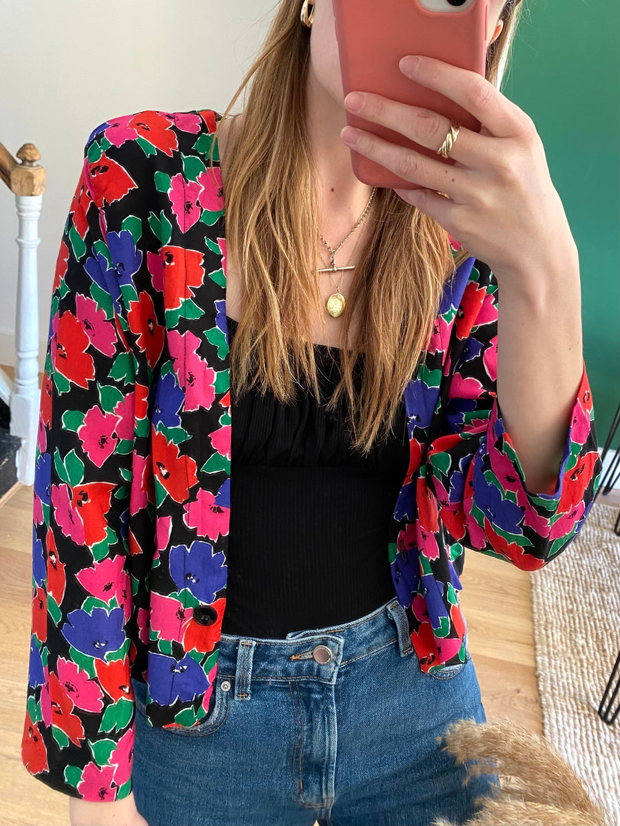 80s Bold Floral Top - M