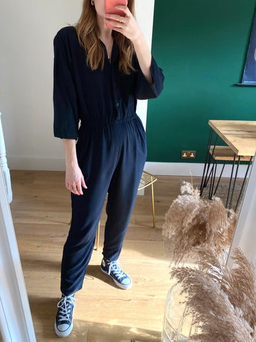 Vintage Black Shirt Jumpsuit (Small)