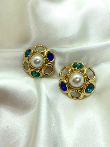 Vintage Gold Tone Flower Jewel Clip On Earrings