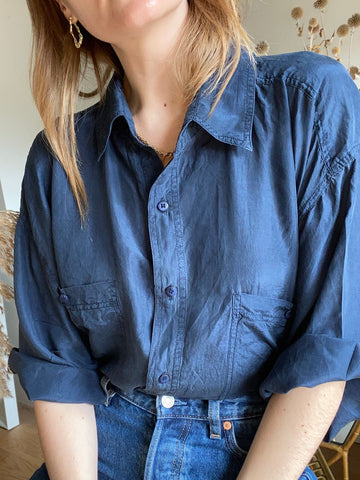 90s Navy Silk Shirt - XL