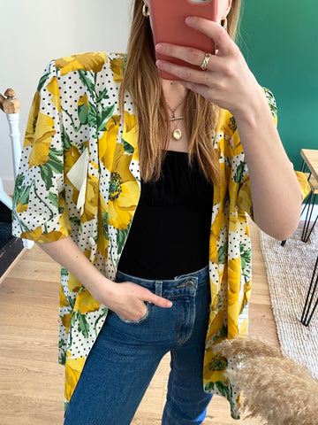 80s Yellow Poppy Blazer - L