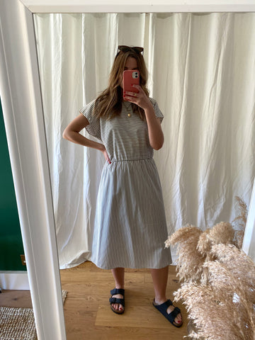 80s Grey Striped Dress - L