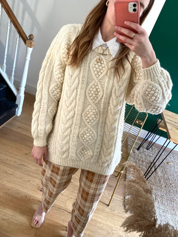 90s Cable Knit Wool Jumper - L
