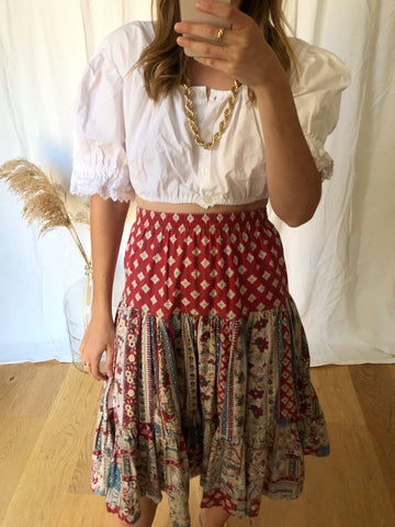 Vintage Floral Cotton Gypsy Skirt