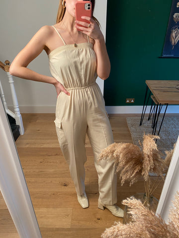 Vintage Cream Cotton Minimal Jumpsuit (UK 8)
