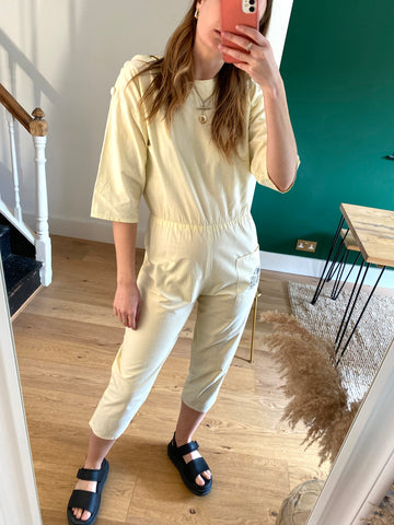 80s Yellow Cotton Jumpsuit - S/M