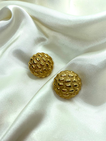 Vintage Designer Gold Tone Round Clip On Earrings