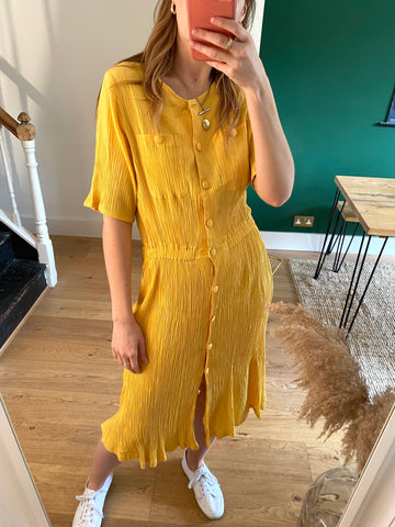 90s Yellow Button Dress - S/M