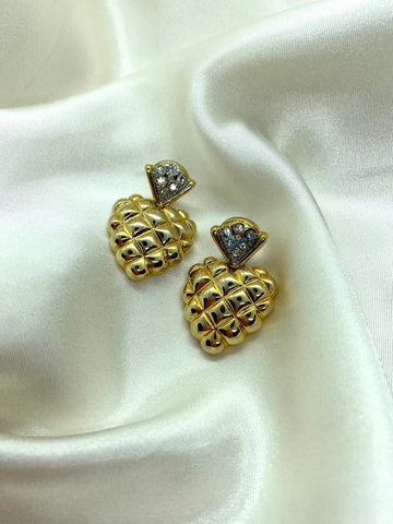 Vintage Gold Tone Heart Diamante Earrings