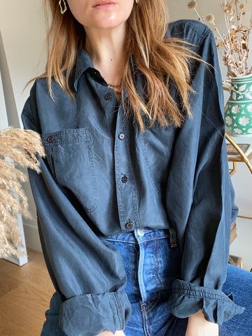90s Grey Silk Shirt - L