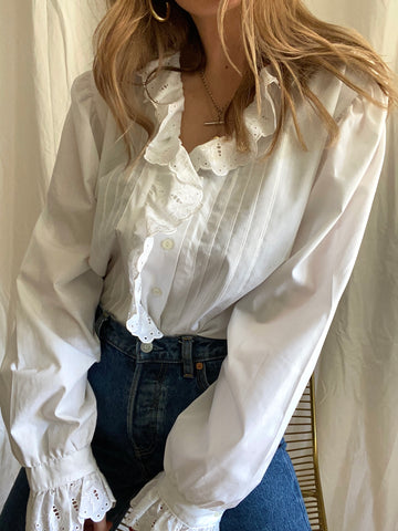 90s White Cotton Frill Blouse - XL