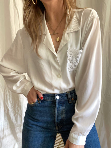 80s White Lace Blouse - XL