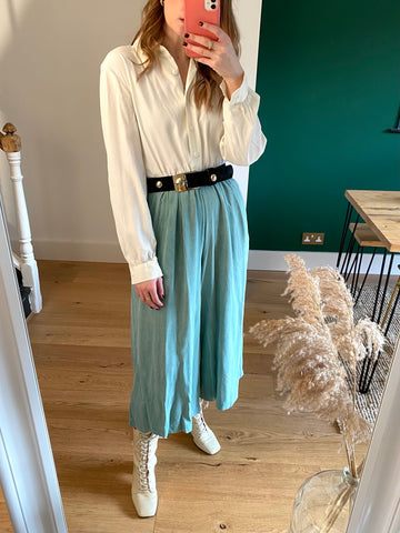 Vintage Green & White Wide Leg Jumpsuit (UK 8-12)