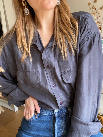90s Grey Silk Shirt - XL