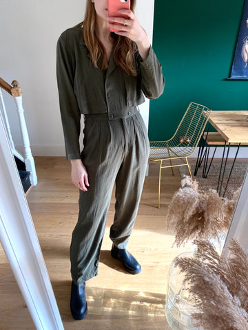 Vintage Khaki Long Sleeve Jumpsuit (Small)