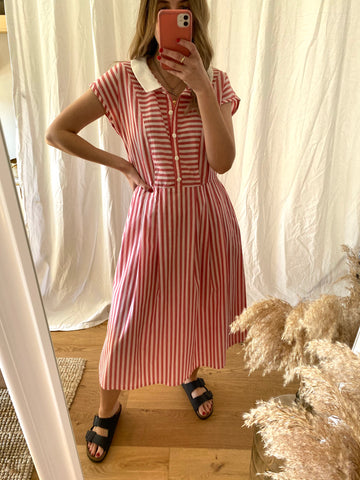 80s Pink Stripe Shirt Dress - S/M