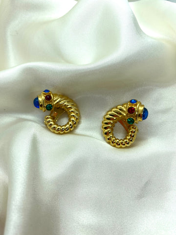 Vintage Gold Tone Jewelled Clip On Earrings