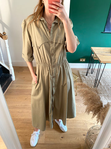 90s Green Cotton Shirt Dress - M