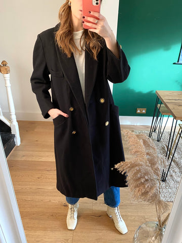 Vintage Black Wool Gold Button Midi Coat (up to UK 14)