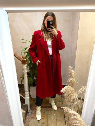 Vintage Red Wool Double Breasted Midi Coat