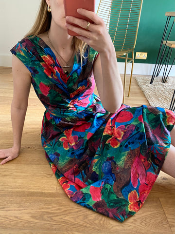 80s Tropical Cotton Dress - S/M