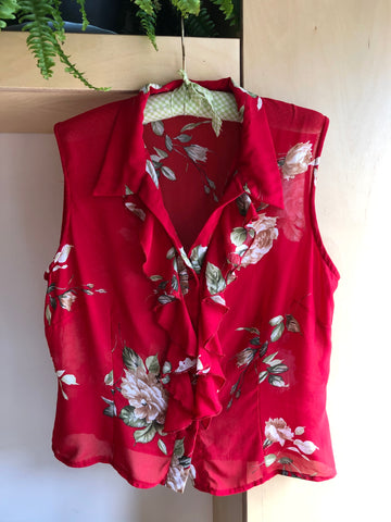Vintage Red Floral Sleeveless Blouse