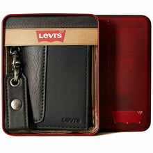 Load image into Gallery viewer, Men's Levi's Black Smooth Leather Trifold Billfold Slim RFID Wallet With Chain