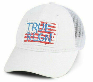 TRUE RELIGION WHITE USA FLAG PATCH EMBROIDERED TRUCKER BALL CAP HAT ONE SIZE