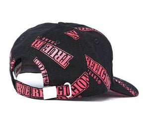 True Religion Name Repeat Logo Baseball Cap Hat Black Pink One Size