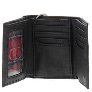 Men's Levi's Black Smooth Leather Trifold Billfold Slim RFID Wallet With Chain