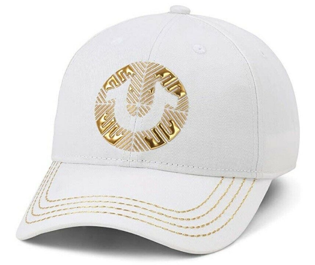 True Religion Unisex White Gold Tone Trim Logo Dad Hat Baseball Strap Cap