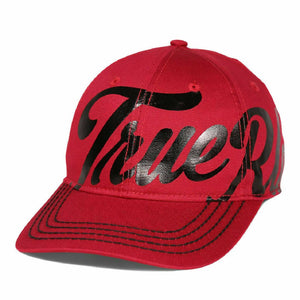 Men's True Religion Red Logo Print Embroidered Bring 6 Panel Baseball Cap Hat