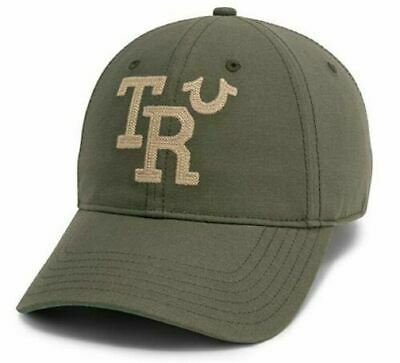 TRUE RELIGION GREEN VINTAGE EMBROIDERED TR BASEBALL CAP HAT ACE ONE SIZE