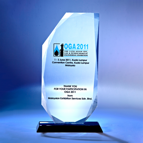 Crystal Plaque | D1014 - D One Crystal Award Trophy Malaysia