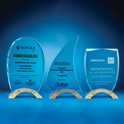 Crystal Plaque | D3034 A/B/C - D One Crystal Award Trophy Malaysia