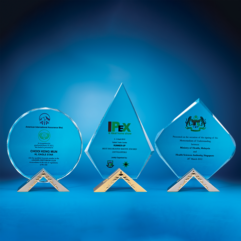 Crystal Plaque | D3035 A/B/C - D One Crystal Award Trophy Malaysia