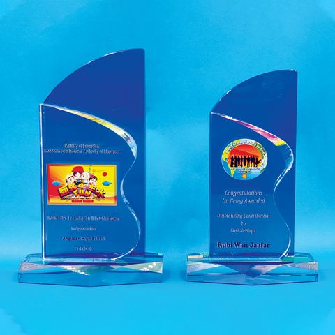 Crystal Plaque | D4062 A/B - D One Crystal Award Trophy Malaysia