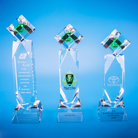 Crystal Trophy | D5009 A/B/C - D One Crystal Award Trophy Malaysia