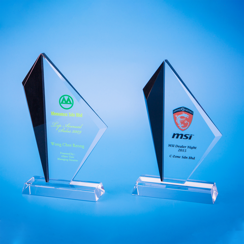 Crystal Plaque | D5021 A/B - D One Crystal Award Trophy Malaysia