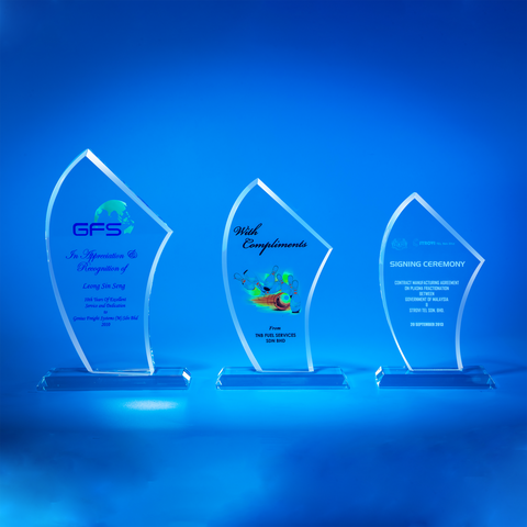 Crystal Plaque | D5052 A/B/C - D One Crystal Award Trophy Malaysia