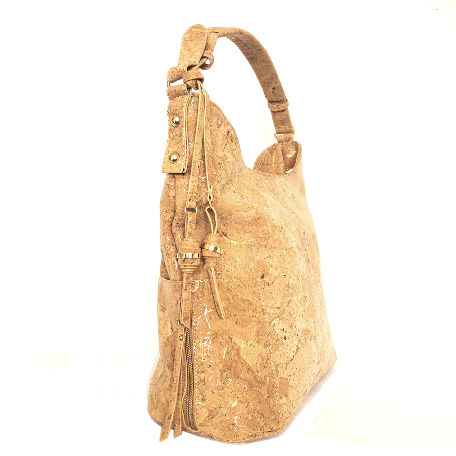 Elsbeth Cork Hobo Bag Natural with Golden side