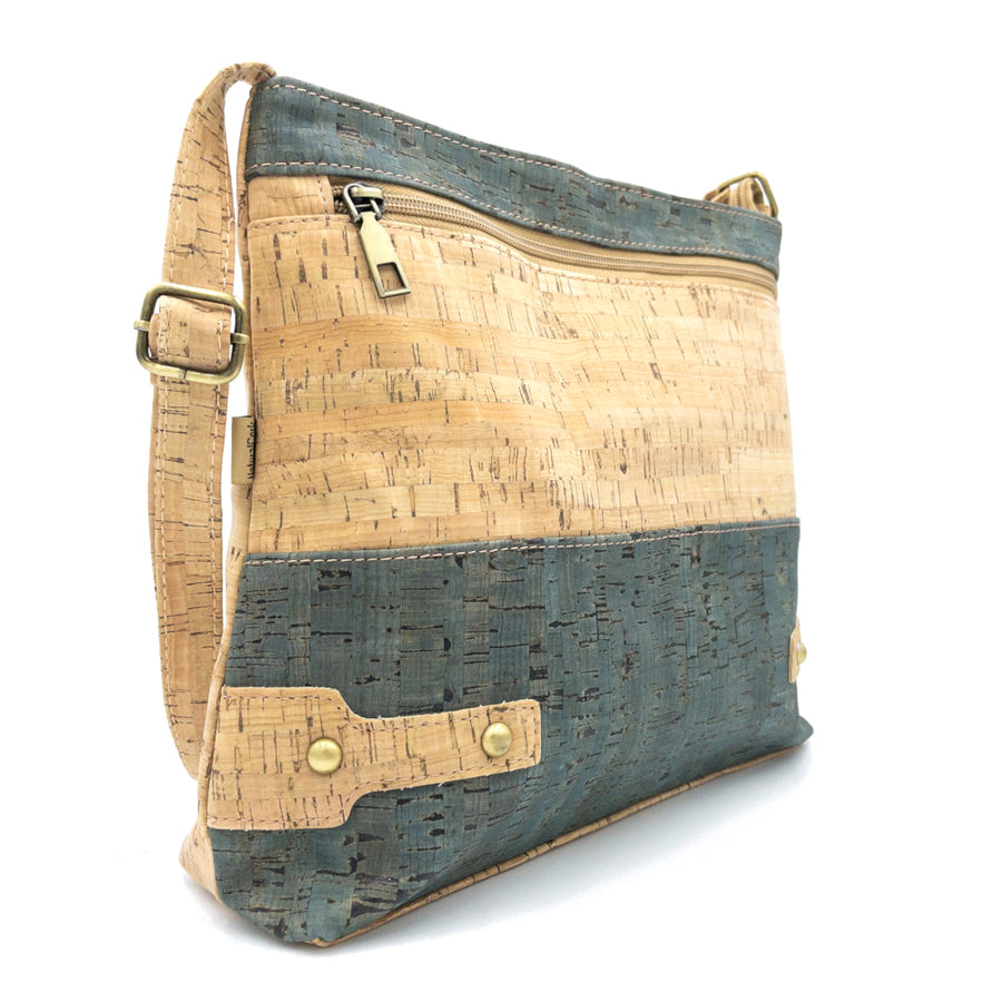 Billie Cork Messenger Bag Natural with Slate Blue