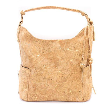 Elsbeth Cork Hobo Bag Natural with Golden front
