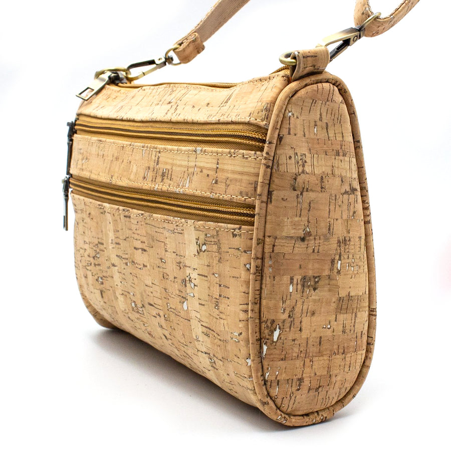 Gemma Cork Crossbody Bag Natural with Silver side